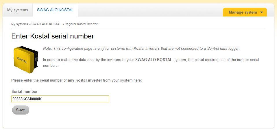 Enter Kostal serial number